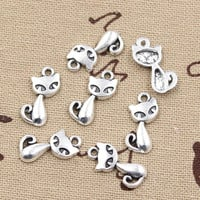 99Cents 15pcs Charms cat fox 17*9mm Antique Making pendant fit,Vintage Tibetan Silver,DIY bracelet necklace