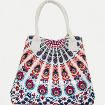 Green  White Floral Boho Mandala Beach Tote Handbag on RoyalFurnish.com