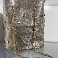 Rose Gold Bucket Bag with Gold Hardware