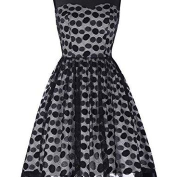 Grace Karin Womens Cocktail Polka Dots Dress Vintage Swing Dress CL464