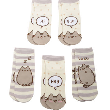 Pusheen Stripes & Polka Dots No-Show Socks 5 Pair