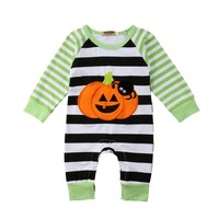 Newborn Baby Halloween Pumpkin Romper Jumpsuit Cotton Outfit Clothes pudcoco Newborn Toddler Infant Baby boy Girl 2pcs