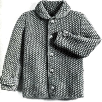 Vintage Jacket Knitting Pattern Unisex sizes 1 2 & 3 years Is not a finished product. It is a PDF Pattern with DIY instructions