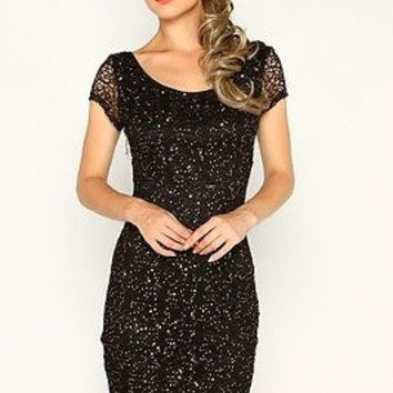 Black Bodycon Sequin Dress With Unique Back Opening