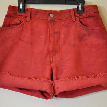 Vintage Denim SHORTS - Hand Dyed Scarlet Red Urban Style Distressed Denim Vintage Levi's Jean Shorts -  Size 14 (32)