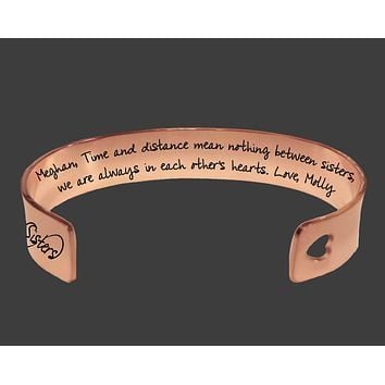 Rose Gold Sister Bracelet | Time and Distance Mean Nothing Between Sisters