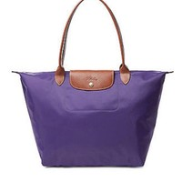 Long Champ Amethyst Purple Nylon Le Pliage Medium Tote Bag Purse