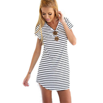 Women's Crew Neck Short Sleeve Striped Loose T-Shirt Mini Dress Sundress Beach Summer Dress