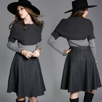 Women's clothing set skirt suit dark grey knitted cape wool skirt light grey sweater fashion set