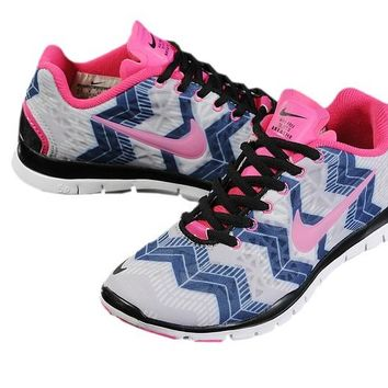 Women's Nike Free TR FIT 3 Print Geometry Limited Training Shoes Blue/Grey/Pink