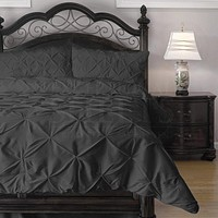 Queen Size 4-Piece Charcoal Microfiber Comforter Set with Pinch Pleat Puckering