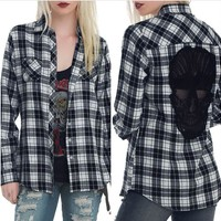 Women's blouse Casual Style Cotton Checks Long Sleeve Back Skull Hollow