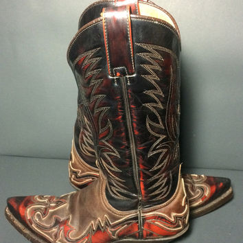 SENDRA Brown Tan Leather Cowgirl Cowboy Western Women's Boots Size 6.5
