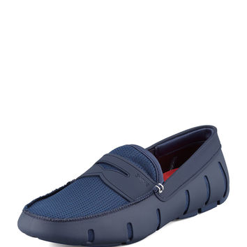 Mesh and Rubber Penny Loafer, Navy - Swims