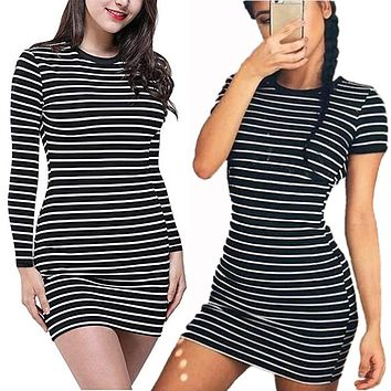 Enough Stock Summer autumn Round Neck long Short sleeved Dress Black And White Striped Dresses Casual Elegant Sheath Slim Dress