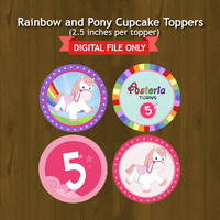 Pony and Rainbow Printable Birthday Cupcake Topper with Wrapper - Ponies and Rainbows Party Circles - DIGITAL FILE