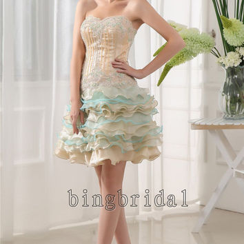 Sheath/ Column Strapless Short/ Mini layered organza Cocktail Dress with beads appliques