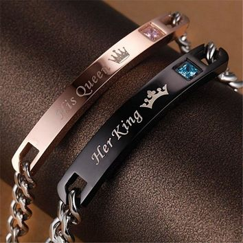 """1 Pcs Unique Gift for Lover """"His Queen""""""""Her King """" Couple Bracelets Stainless Steel Bracelets for Women Men Jewelry"""