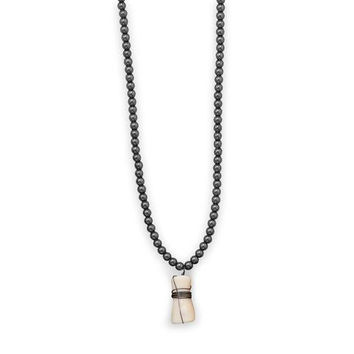"""Hunter 22"""" Men's Fashion Necklace with Hematite and Coral"""