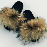 Natural raccoon furslides fluffy fur slippers comfy fur sandals women's fur shoes