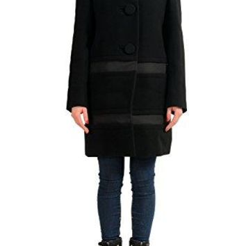 Moncler Women's Cappotto Black 100% Wool Insulated Coat Sz 1 US S