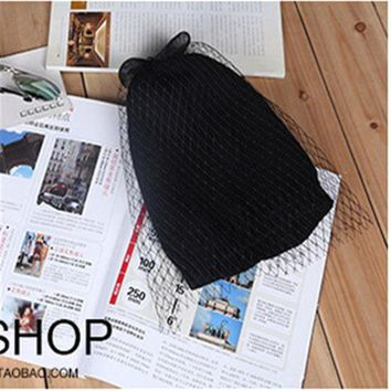 PEAPUNT Bow net yarn veil hats knitted cap millinery 2015 new winter spring wool cap beanies women hat fashion accessories
