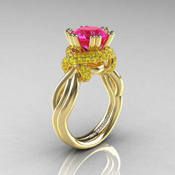 Classic 14K Yellow Gold 3.0 Ct Pink and Yellow Sapphire Knot Engagement Ring R390-14KYGYSPS