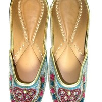 Blue Pink Beaded Indian Bridal Wedding Shoes Punjabi Ethnic Jutti Flats