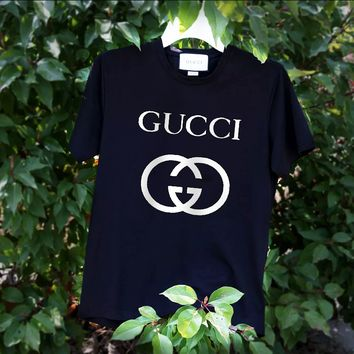 GUCCI Big Bust Flat Women Men Tee Shirt Double G Top B-ZANDNR Black