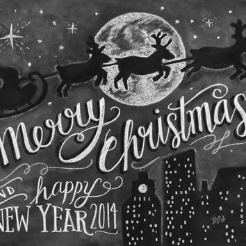2014 Limited Edition Christmas Card - Retro Merry Christmas Card - Christmas Chalkboard Card - Illustration by Valerie McKeehan