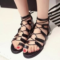 Strappy Roman Goth Gladiator Lace Up Cross Strap Fish Mouth Bandage Sandals