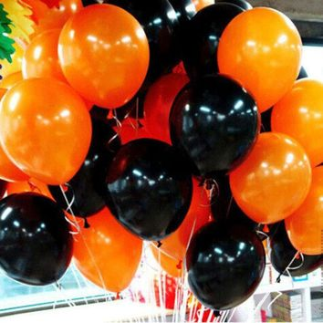 ONETOW 10inch halloween decoration latex balloons 2.2g High Quality black orange halloween party decorations latex balls toys supplies