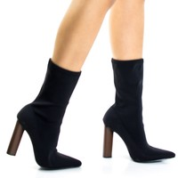 Connie5 Black Soft Stretchable Sock Fit Low Calf Bootie w Pointy Toe & Round Stack Heel