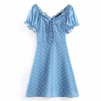 Fashion New Wave Point Print Short Sleeve Dress Women Light Blue