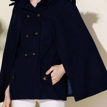 Dark Blue Patchwork Pockets Buttons Hooded Cape Wool Coat