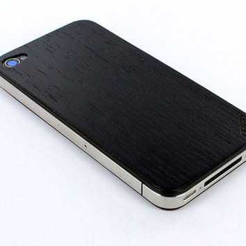 Reconstituted Ebony - Real Wood iPhone 4 Skin - Front & Back Cover, Made in the USA