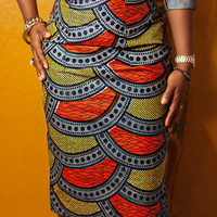 Multicolor High Waist Pencil Skirt
