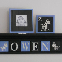 "Baby Nursery Boy Name Sign / Shelf 6 Letters - Wall Decor Designs Personalized Light Blue and Black Plaques - OWEN / Zebra , 24"" Black Shelf"