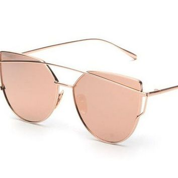 Mecol Fashion Women Cat Eye Sunglasses ClassicTwin-Beams Rose Gold Frame Sun Glasses for Women Mirror Flat Lense Sunglass