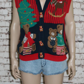 90s Oversize Sweater Vest Jumper Red Gold Ugly Christmas Trees Holiday Party 80s Hipster Grunge Boxy Knit Teddy Bear Bow M L