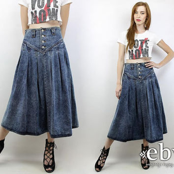 Vintage 90s JORDACHE High Waisted Denim Midi Skirt S M High Waisted Skirt High Waist Skirt Denim Skirt Jean Skirt Jean Midi Skirt