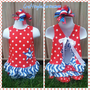 4th of July Swing Top Red Polka Dot Baby Girl Outfit - First 4th Of July Outfit - Dress - Bloomers - Necklace - Bow- Three Piece Set -Fourth