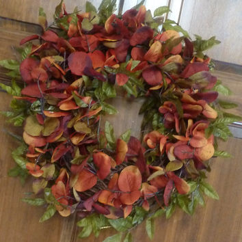 Fall Wreath - Eucalyptus Wreath - Front Door Wreaths - Orange and Green Wreath - Thanksgiving Wreath - Autumn Wreath - Fall Home Decor