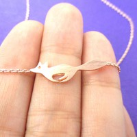 Running Fox Shaped Silhouette Pendant Necklace in Rose Gold | Animal Jewelry