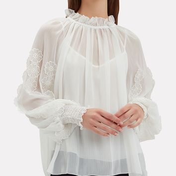 Floral Applique Sheer Blouse