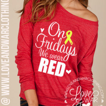Red Friday slouchy long sleeve top
