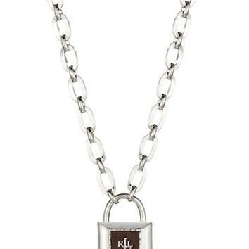 Lauren Ralph Lauren Logo Lock Pendant Necklace