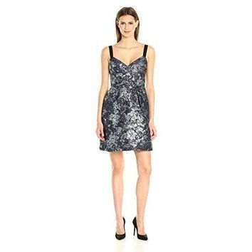 Vera Wang Women's Sleeveless Jacquard Cocktail Dress with Ribbon Straps, Blue/Multi, 8