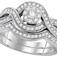 10kt White Gold Womens Round Diamond Milgrain Twist Bridal Wedding Engagement Ring Band Set 1/2 Cttw