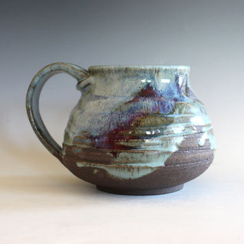 Pottery Coffee Mug, 21 oz,unique coffee mug, handmade ceramic cup, handthrown mug, stoneware mug, wheel thrown pottery mug, ceramics